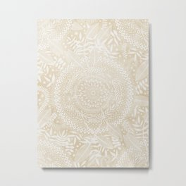Medallion Pattern in Pale Tan Metal Print