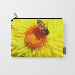 Yellow Paper Daisy with Bee Carry-All Pouch