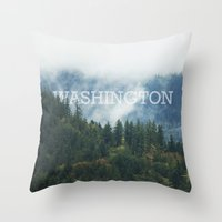 washington Throw Pillows featuring WASHINGTON by shannonfinnphotography