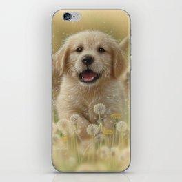 Golden Retriever Puppy - Dandelions iPhone Skin