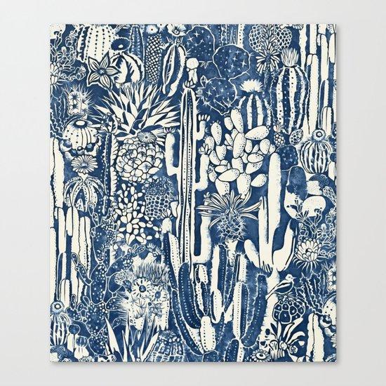 Indigo cacti Canvas Print