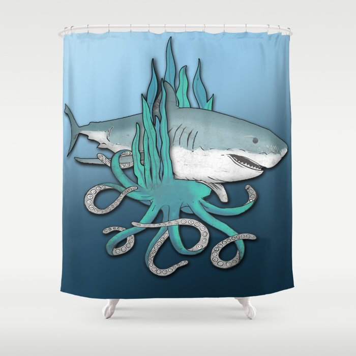 Octopus Bit The Great White Shark Shower Curtain