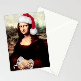 Mona Lisa Wearing a Santa Hat Stationery Cards
