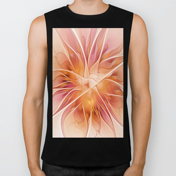 Floral Impression, Abstract Fractal Art Biker Tank