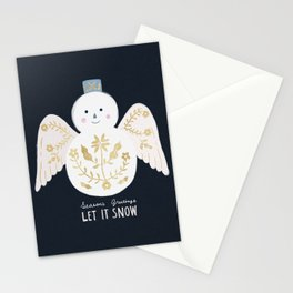 Holiday Flower Snowman Stationery Cards