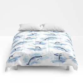 Watercolor Narwhals Comforters