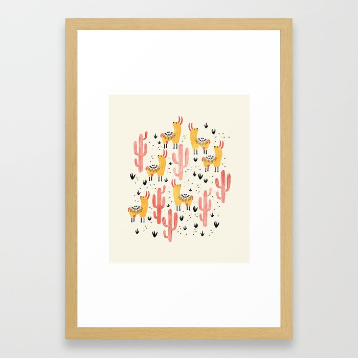 Yellow Llamas Red Cacti Framed Art Print by lidieb...