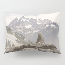 VINTAGE STONE MONUMENT AND MOUNT SHUKSAN Pillow Sham