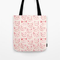 novelty Tote Bags featuring Red Cat by leah reena goren