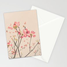 Vintage Spring Botanical, Peaches and Cream -- Pink Dogwood Flowers on Ivory Ground Stationery Cards