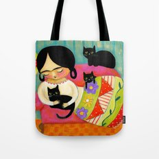 Frida with black cats on sofa Tote Bag