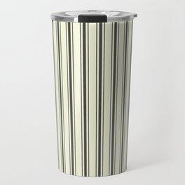 Mattress Ticking Wide Striped Pattern in Dark Black and Beige Travel Mug