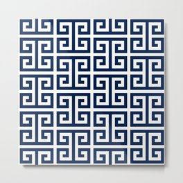 Dark Navy Blue and White Greek Key Pattern Metal Print