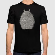 Cream Totoro Mens Fitted Tee MEDIUM Black