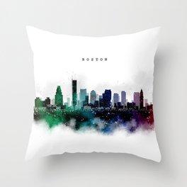 Boston Watercolor Skyline Throw Pillow