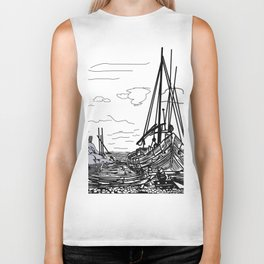 boats on the sea . artwork Biker Tank