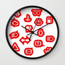 Vehicle Dash Warning Symbols Wall Clock