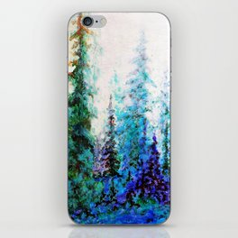 Mountain Landscape Pines In Blue-Greens-Purple iPhone Skin