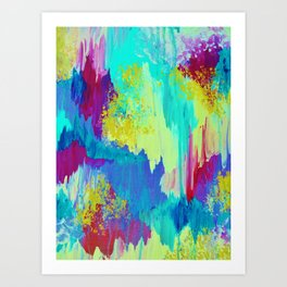 SUGARY GOODNESS - Lovely Cotton Candy Sweet Dreams Colorful Rainbow Abstract Chevron Ikat Painting Art Print