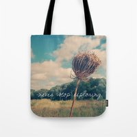 never stop exploring Tote Bags featuring Never Stop Exploring II by Sandra Arduini