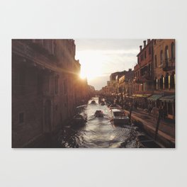 BOAT - STREETS - RIVER - TOWN - LIFE - CULTURE - PHOTOGRAPHY Canvas Print