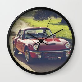 Triumph spitfire, classic english sports car, hasselblad photo Wall Clock