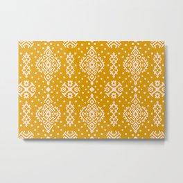 Vitage Tribal ethnic damask yellow handrawn illustration pattern. Ancient art of Arabesque. Metal Print