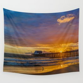 Lone Seagull at Sunset - Newport Pier Wall Tapestry
