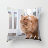 garfield Throw Pillows featuring Garfield by maisie ong