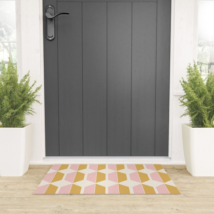 Hexagonal Pattern - Sunrise Welcome Mat