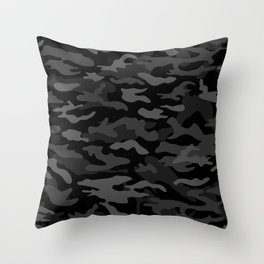 NEW AGE BLACK CAMOUFLAGE IN 4 SHADES OF GRAY  Throw Pillow
