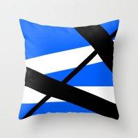 bands Throw Pillows featuring Bands 1 Retro stripes by Brian Raggatt