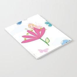 Summer Flowers, Butterflies and Fairy Pattern Wallpaper Notebook