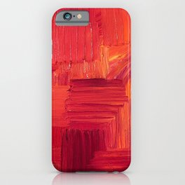 Fiery, Vibrant Oil Painting. Passionate Bright Red and Orange Abstract Art.  iPhone Case