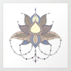 Ethnic flower lotus mandala ornament Art Print