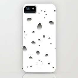 Gray drops and petals on a black background in nacre. iPhone Case