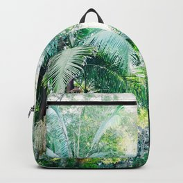 Lost in the jungle bright green tropical palm tree forest photography Backpack