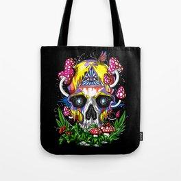 Magic Mushrooms Psychedelic Skull Tote Bag