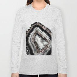 Agate Rose Gold Glitter Glam #4 #gem #decor #art #society6 Long Sleeve T-shirt