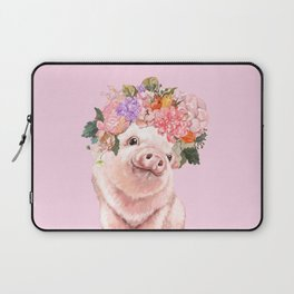 Baby Pig with Flowers Crown Laptop Sleeve