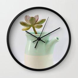 Succulent in tea pot Wall Clock