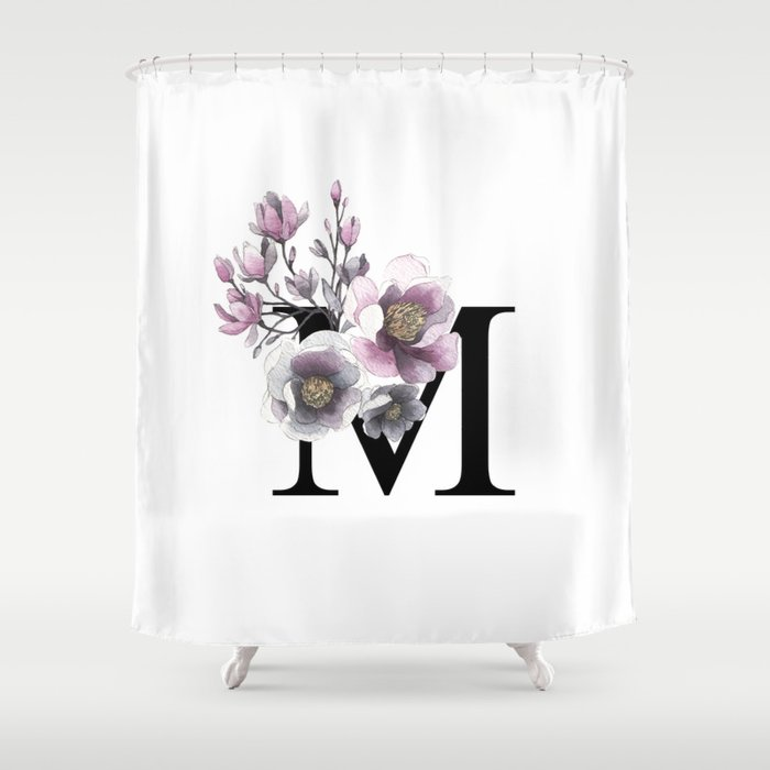 Letter M Magnolia Flower Typography Shower Curtain By Anandaung