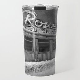 Rosie's Diner Photograph in Infrared Black & White by Rockford, Michigan Travel Mug