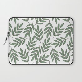 Vintage green white foliage leaves floral pattern Laptop Sleeve