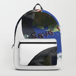 Save the World Design. For environmental protection, climate protection Backpack