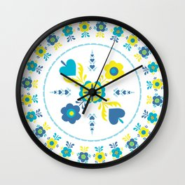 Folk Flowers in Yellow and Turquoise Wall Clock