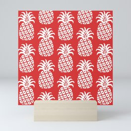 Retro Mid Century Modern Pineapple Pattern Red 2 Mini Art Print