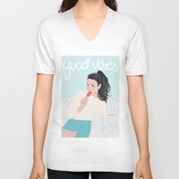 good vibes V-neck T-shirts featuring Good Vibes by Elly Liyana