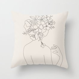 Woman with Flowers Minimal Line II Throw Pillow