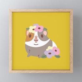 Guinea pig and flowers Framed Mini Art Print